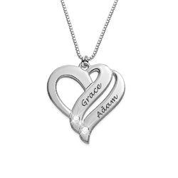 Collier en argent 925 avec diamant « Deux cœurs unis pour toujours » photo du produit
