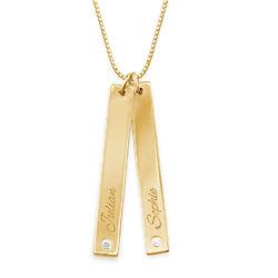 Collier avec pendentif barre verticale en plaqué or avec diamant photo du produit