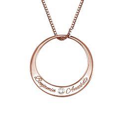 Collier cercle en plaqué or rose avec diamant photo du produit