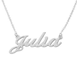 Collier Prénom Style Classique en Argent Effet Diamant photo du produit
