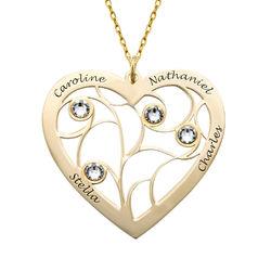 Collier cœur arbre de vie avec pierres de naissance en Or 10K product photo