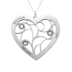 Collier cœur arbre de vie avec pierres de naissance en Or Blanc 10K product photo