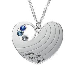 Collier cœur pour maman avec pierres de naissance en argent photo du produit