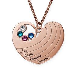 Collier cœur pour maman avec pierres de naissance en plaqué or rose photo du produit