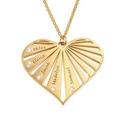 Collier de famille avec diamants en Or Vermeil photo du produit