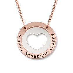 Collier cercle avec coeur en Argent et Plaqué Or Rose photo du produit