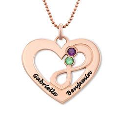 Collier coeur avec symbole infini en Plaqué Or Rose photo du produit