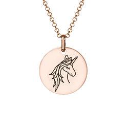 Collier pendentif Licorne en Plaqué Or Rose photo du produit