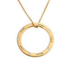 Collier famille cercle avec diamant en Plaqué Or photo du produit