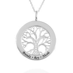 Collier pendentif arbre de vie rond en argent sterling avec diamants photo du produit