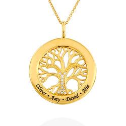Collier avec pendentif arbre de vie rond et diamants en plaqué or photo du produit