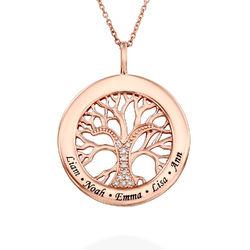Collier avec pendentif arbre de vie rond et diamants en or rose photo du produit