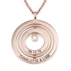 Collier Cercle de Vie Gravé en Plaqué Or Rose avec Diamant photo du produit