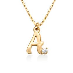 Collier avec lettre initiale et diamant en plaqué or 18ct photo du produit