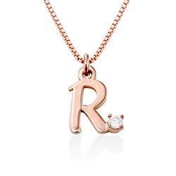 Collier à initiales en diamant plaqué or rose 18K photo du produit