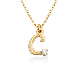 Collier à initiales en diamant en or vermeil 18K photo du produit