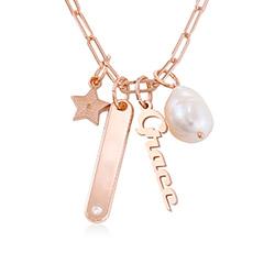 Collier chaîne à barre Siena en plaqué or rose 18 carats photo du produit