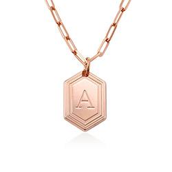Collier Cupola Chaîne en plaqué or rose 18 carats avec initiale photo du produit