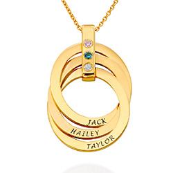 Collier anneaux russes avec Pierres de Naissance en Plaqué Or 18ct photo du produit