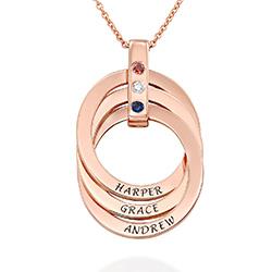 Collier anneaux russes avec Pierres de Naissance en Plaqué Or Rose photo du produit