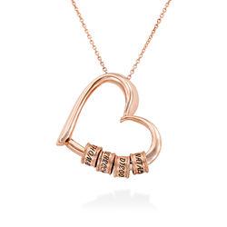 Collier à Pendentif Cœur avec Perles Gravées en Plaqué Or Rose 18ct photo du produit