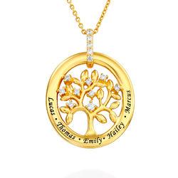 Collier d'arbre généalogique personnalisé en plaqué or photo du produit