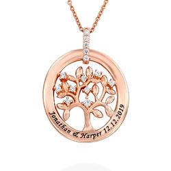Collier d'arbre généalogique personnalisé en Plaqué Or Rose photo du produit