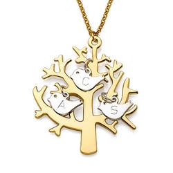 18K Collier arbre de vie plaqué or avec oiseaux initiales en argent photo du produit