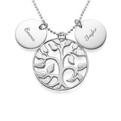 Collier Arbre de Vie ajouré avec médailles personnalisées en argent product photo