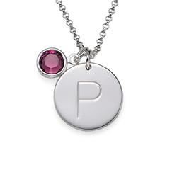 Médaille Gravée avec Pendentif Lettre et Cristal en Argent photo du produit