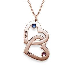 Collier pierre de naissance cœurs entrelacés plaqué or rose photo du produit