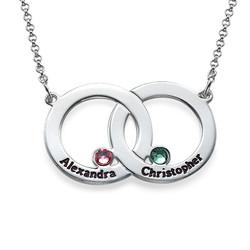 Collier Double Cercle en argent avec pierres de naissance photo du produit