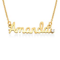 Collier prénom style cursif en plaqué or avec diamant photo du produit