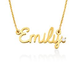 Collier prénom style cursif en vermeil d'or avec diamant photo du produit
