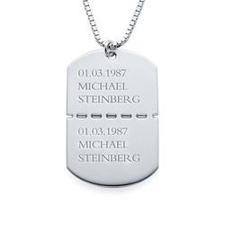 Collier Plaque Militaire Pour Homme en Argent photo du produit