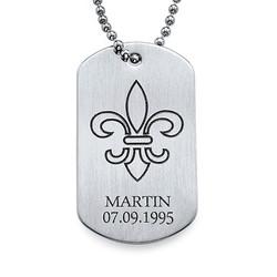 Collier Fleur De Lys Plaque Militaire Gravée- Acier Inoxydable photo du produit