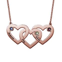 Collier Cœurs entremêlés avec Pierres de Naissance-Plaqué Or Rose photo du produit