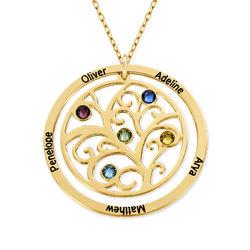 Collier arbre de vie avec pierres de naissance - Or jaune 10 carats photo du produit