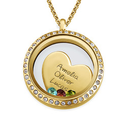 Médaillon flottant Amour de Maman – Plaqué or photo du produit