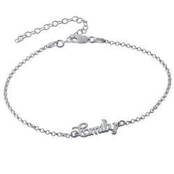 Bracelet de cheville avec prénom en argent photo du produit