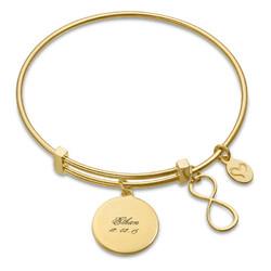 """Bracelet Jonc et Charm """"Infini"""" en plaqué or photo du produit"""