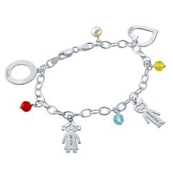Bracelet avec pendentif Enfants gravés et couleurs photo du produit