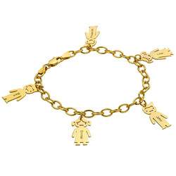Bracelet personnalisé avec Pendentif Enfants en Plaqué Or photo du produit