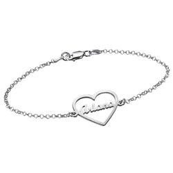 Bracelet Cœur gravé en argent photo du produit
