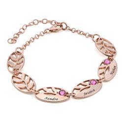 Bracelet feuilles gravées pour maman en plaqué or rose photo du produit