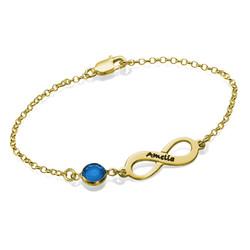 Bracelet Infini pierre de naissance en plaqué or photo du produit