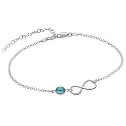 Bracelet de Cheville infini en argent avec pierre de naissance photo du produit