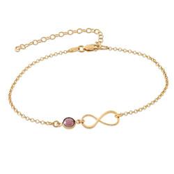 Bracelet de Cheville infini en plaqué or avec pierre de naissance photo du produit