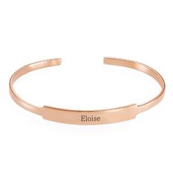 Bracelet Jonc prénom ouvert en plaqué or rose photo du produit