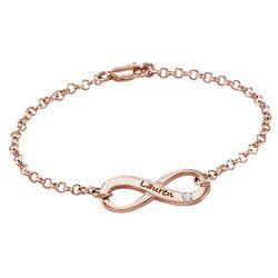 Bracelet infini gravé en plaqué or rose avec diamant photo du produit